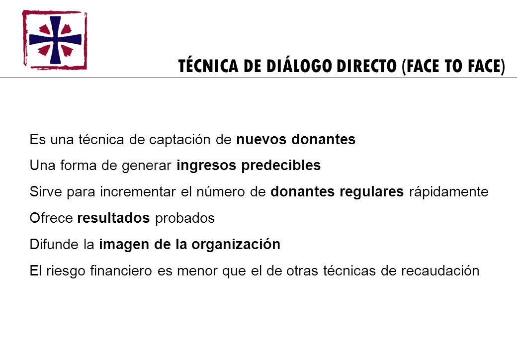 TÉCNICA DE DIÁLOGO DIRECTO (FACE TO FACE) Es una técnica de captación de nuevos donantes Una forma de generar ingresos predecibles Sirve para incremen