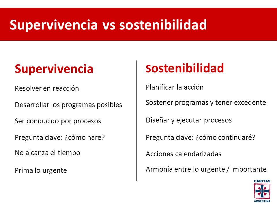 Supervivencia vs sostenibilidad Supervivencia S ostenibilidad Resolver en reacción Planificar la acción Desarrollar los programas posibles Sostener pr