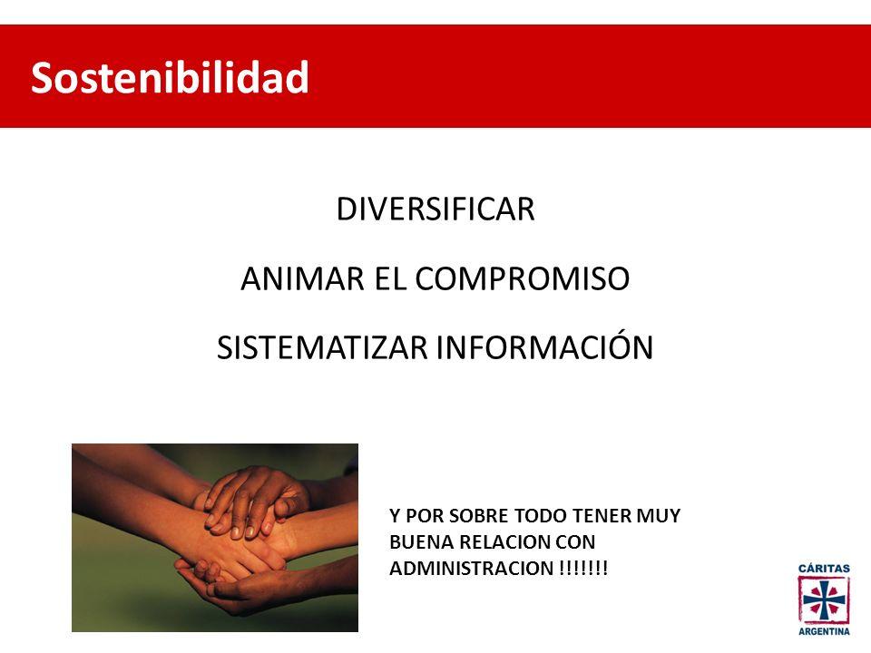 DIVERSIFICAR ANIMAR EL COMPROMISO SISTEMATIZAR INFORMACIÓN Y POR SOBRE TODO TENER MUY BUENA RELACION CON ADMINISTRACION !!!!!!! Sostenibilidad