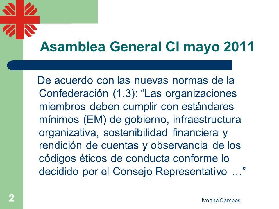 Ivonne Campos 2 Asamblea General CI mayo 2011 De acuerdo con las nuevas normas de la Confederación (1.3): Las organizaciones miembros deben cumplir co