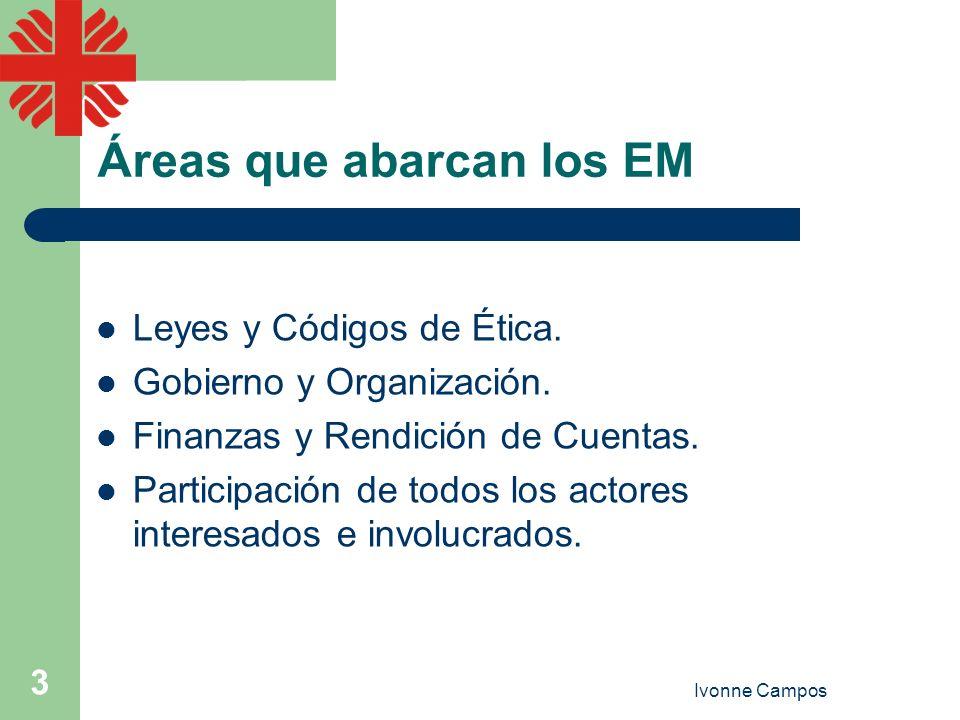 Ivonne Campos 3 Áreas que abarcan los EM Leyes y Códigos de Ética. Gobierno y Organización. Finanzas y Rendición de Cuentas. Participación de todos lo