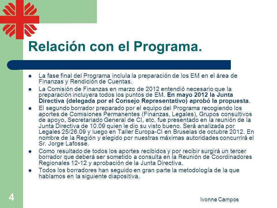 Ivonne Campos 4 Relación con el Programa. La fase final del Programa incluía la preparación de los EM en el área de Finanzas y Rendición de Cuentas. L