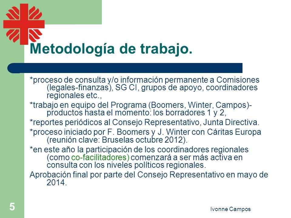 Ivonne Campos 5 Metodología de trabajo. *proceso de consulta y/o información permanente a Comisiones (legales-finanzas), SG CI, grupos de apoyo, coord