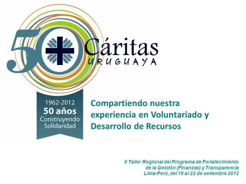 II Taller Regional del Programa de Fortalecimiento de la Gestión (Finanzas) y Transparencia Lima-Perú, del 16 al 22 de setiembre 2012 Compartiendo nuestra experiencia en Voluntariado y Desarrollo de Recursos