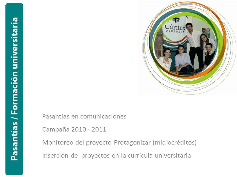 Pasantías en comunicaciones Campaña 2010 - 2011 Monitoreo del proyecto Protagonizar (microcréditos) Inserción de proyectos en la currícula universitar
