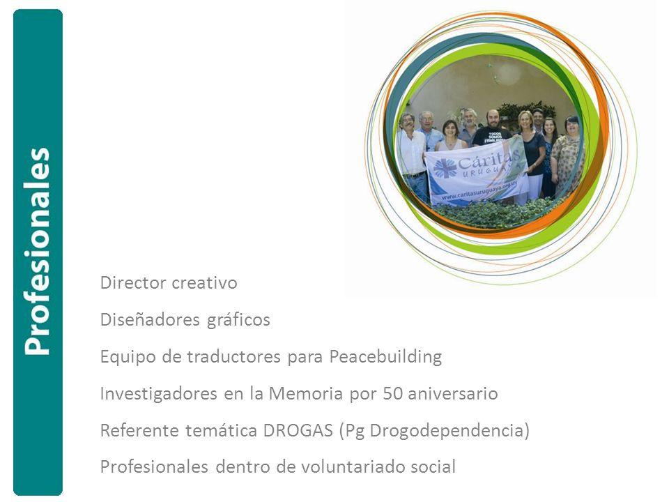 Director creativo Diseñadores gráficos Equipo de traductores para Peacebuilding Investigadores en la Memoria por 50 aniversario Referente temática DROGAS (Pg Drogodependencia) Profesionales dentro de voluntariado social