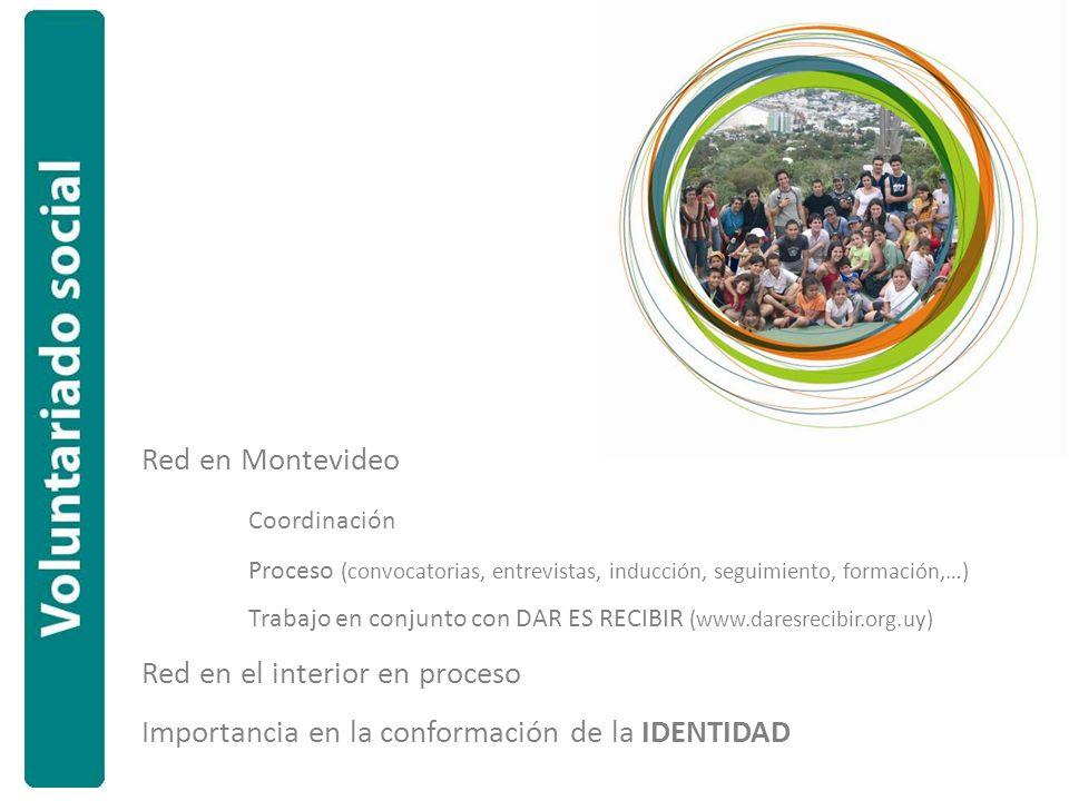 Red en Montevideo Coordinación Proceso (convocatorias, entrevistas, inducción, seguimiento, formación,…) Trabajo en conjunto con DAR ES RECIBIR (www.daresrecibir.org.uy) Red en el interior en proceso Importancia en la conformación de la IDENTIDAD