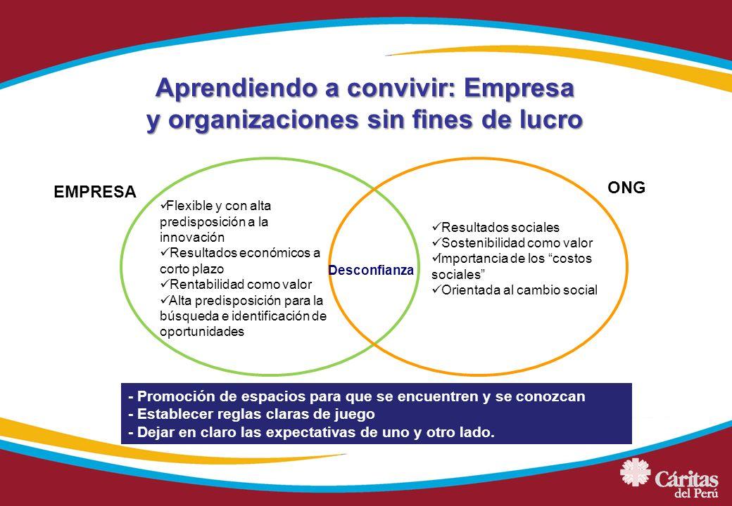 Aprendiendo a convivir: Empresa y organizaciones sin fines de lucro - Promoción de espacios para que se encuentren y se conozcan - Establecer reglas c