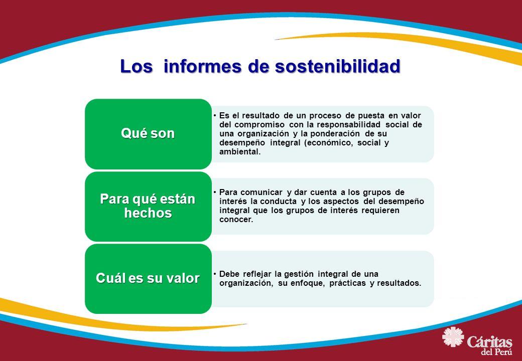 Los informes de sostenibilidad Es el resultado de un proceso de puesta en valor del compromiso con la responsabilidad social de una organización y la