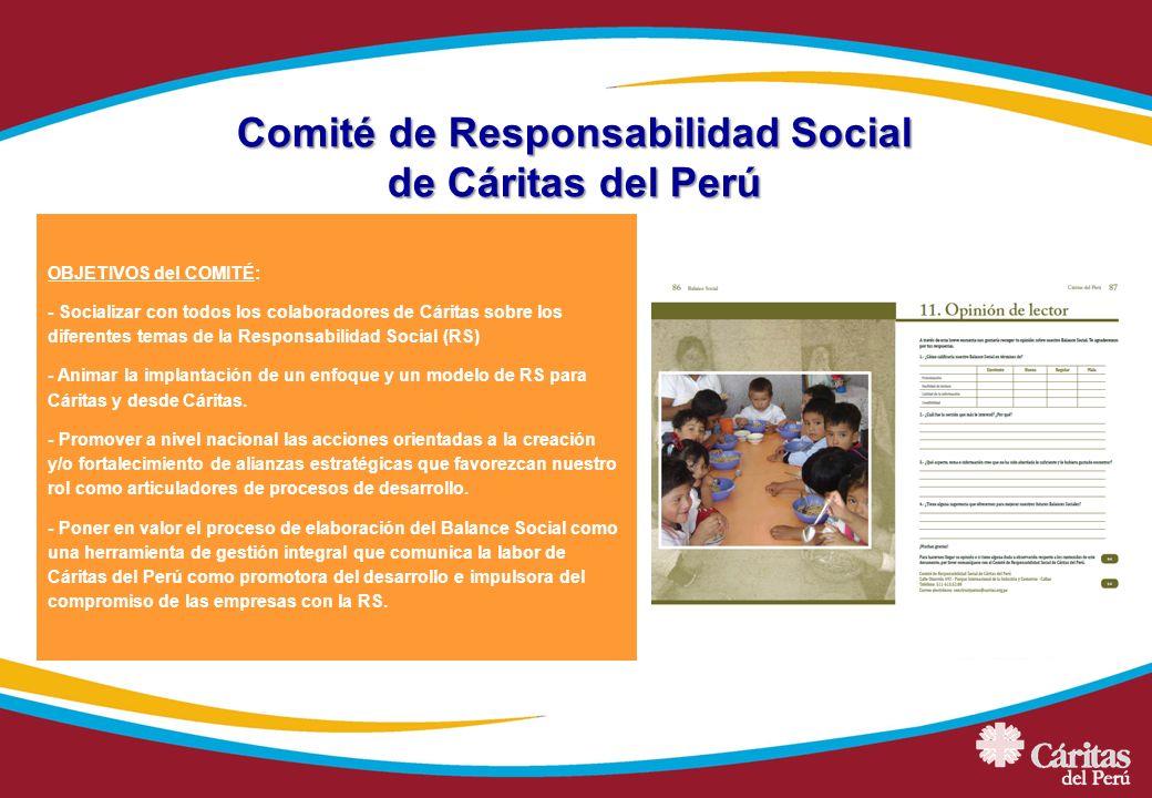 OBJETIVOS del COMITÉ: - Socializar con todos los colaboradores de Cáritas sobre los diferentes temas de la Responsabilidad Social (RS) - Animar la imp