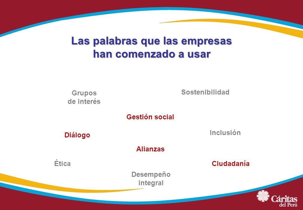 Las palabras que las empresas han comenzado a usar Grupos de interés Sostenibilidad Gestión social Alianzas Ética Diálogo Inclusión Ciudadanía Desempe