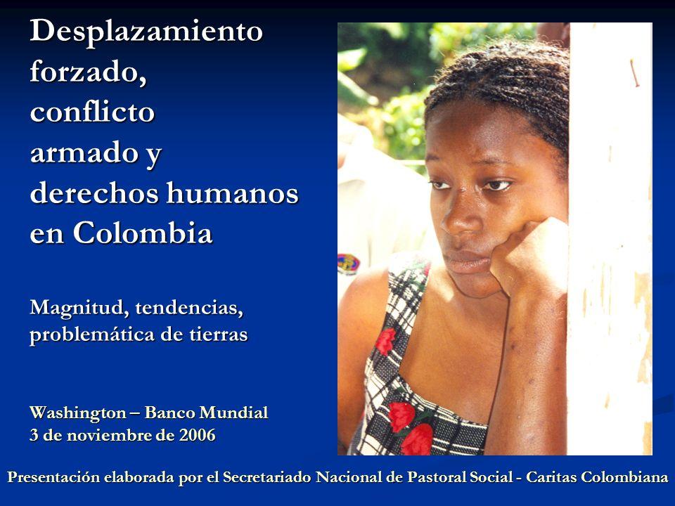Desplazamiento forzado, conflicto armado y derechos humanos en Colombia Definición y causas del desplazamiento Definición y causas del desplazamiento Magnitud y tendencias del desplazamiento forzado Magnitud y tendencias del desplazamiento forzado Impactos y expansión Impactos y expansión Crisis humanitaria y de derechos humanos Crisis humanitaria y de derechos humanos Caracterización social y demográfica Caracterización social y demográfica Debilidades de la política pública Debilidades de la política pública Sistema Único de Registro (SUR) Sistema Único de Registro (SUR) Destierro y despojo: sin protección Destierro y despojo: sin protección Distribución y uso legal de la tierra Distribución y uso legal de la tierra Pérdida de activos Pérdida de activos Propuestas de recomendaciones Propuestas de recomendaciones