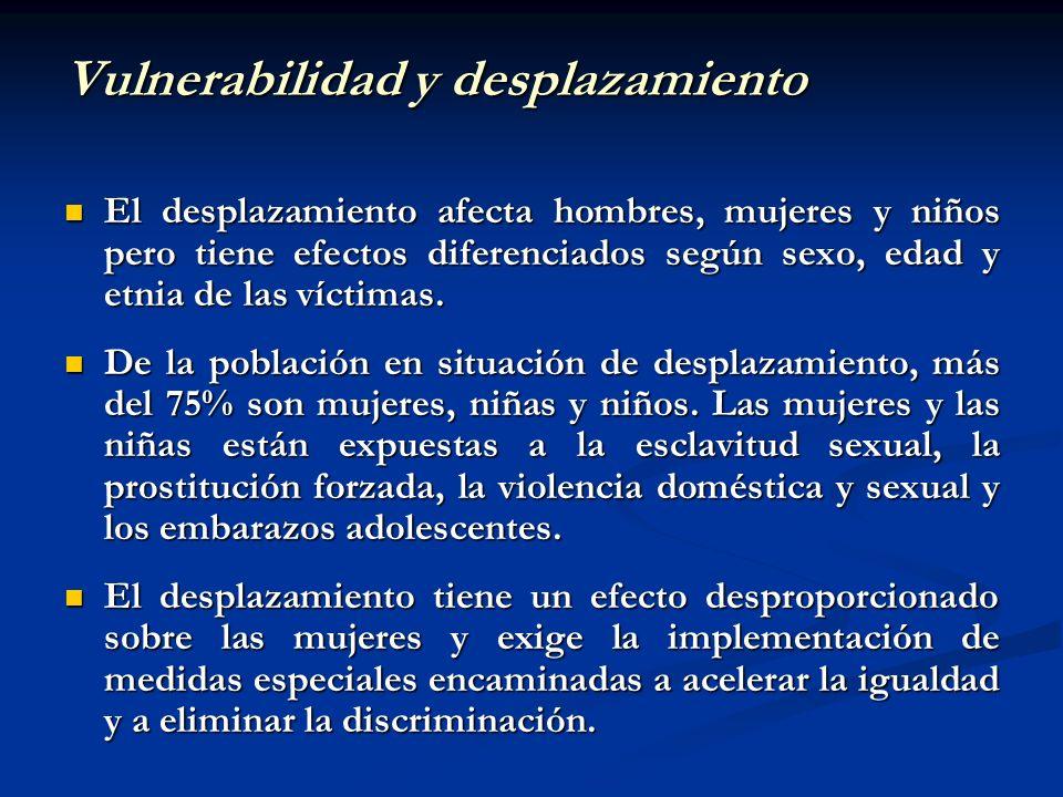 Vulnerabilidad y desplazamiento El desplazamiento afecta hombres, mujeres y niños pero tiene efectos diferenciados según sexo, edad y etnia de las víc