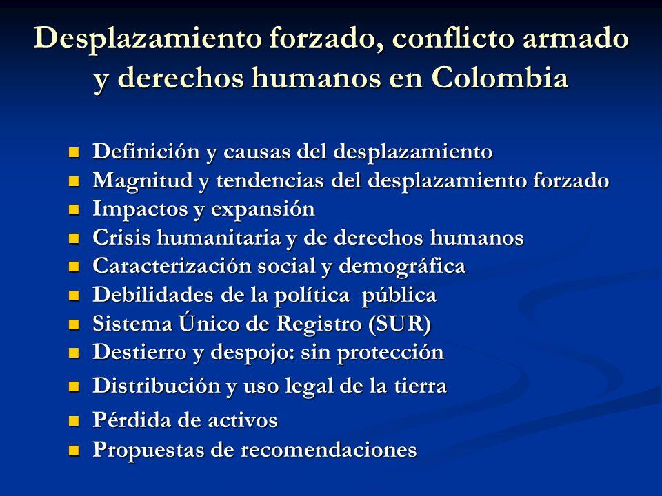 Desplazamiento forzado, conflicto armado y derechos humanos en Colombia Definición y causas del desplazamiento Definición y causas del desplazamiento