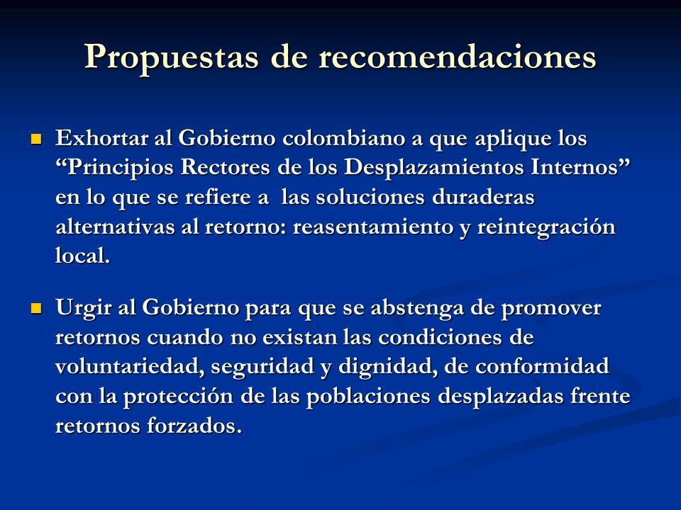 Propuestas de recomendaciones Exhortar al Gobierno colombiano a que aplique los Principios Rectores de los Desplazamientos Internos en lo que se refie