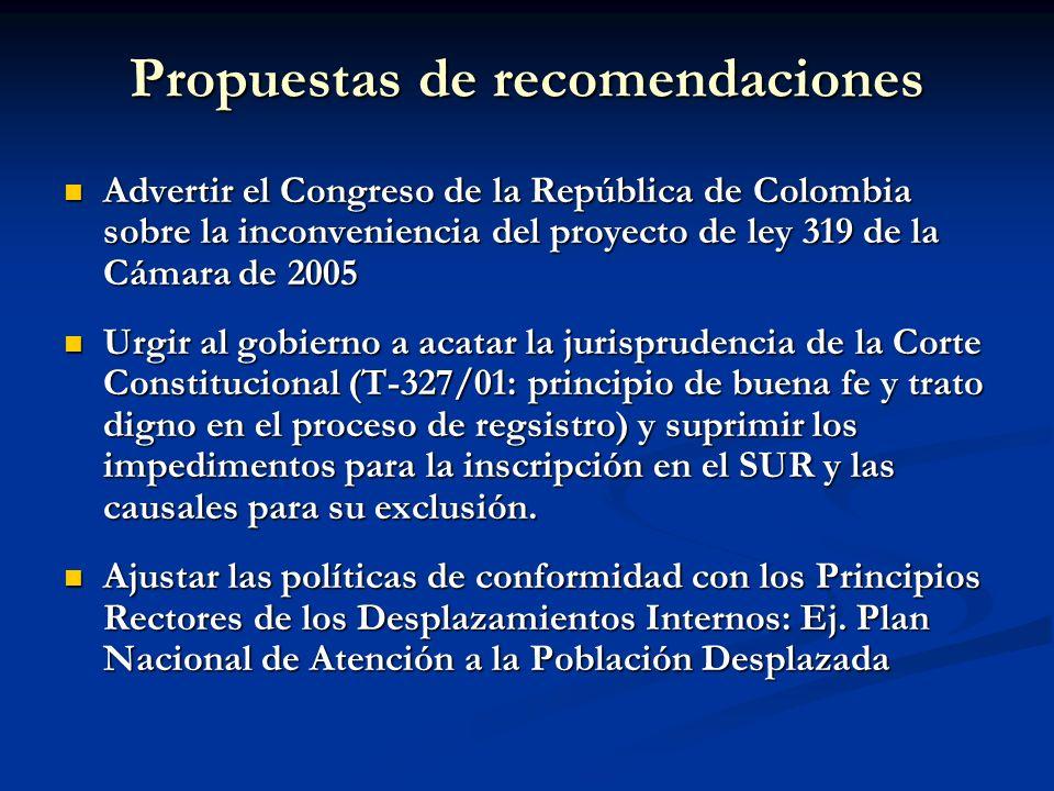Propuestas de recomendaciones Advertir el Congreso de la República de Colombia sobre la inconveniencia del proyecto de ley 319 de la Cámara de 2005 Ad