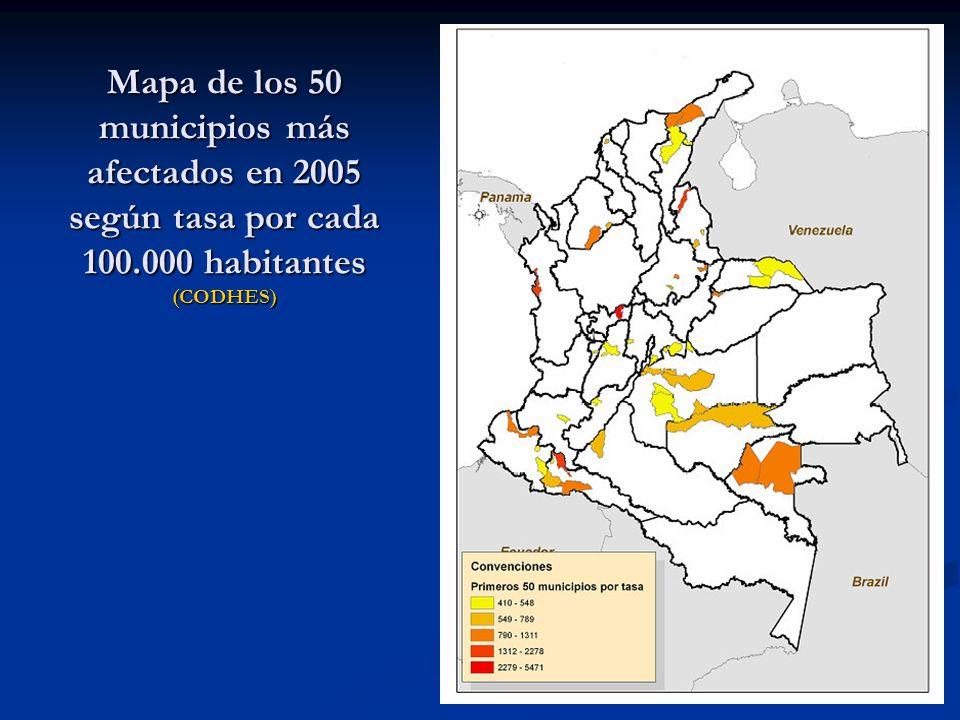 Mapa de los 50 municipios más afectados en 2005 según tasa por cada 100.000 habitantes (CODHES)