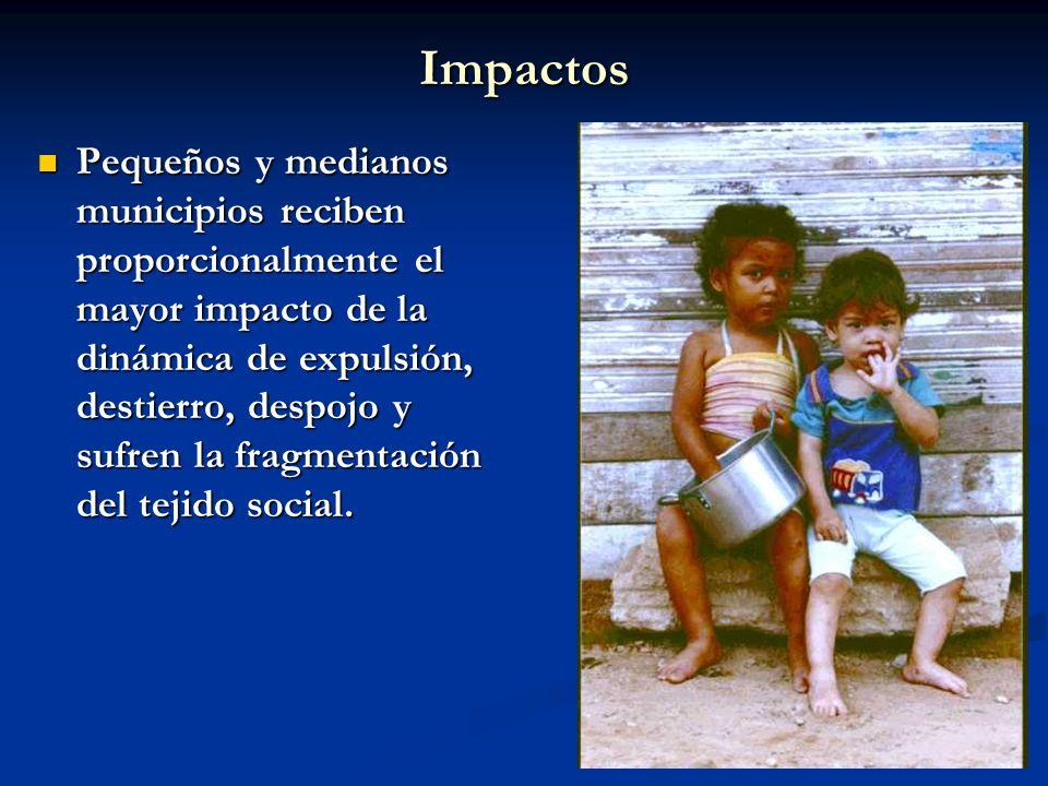 Impactos Pequeños y medianos municipios reciben proporcionalmente el mayor impacto de la dinámica de expulsión, destierro, despojo y sufren la fragmen