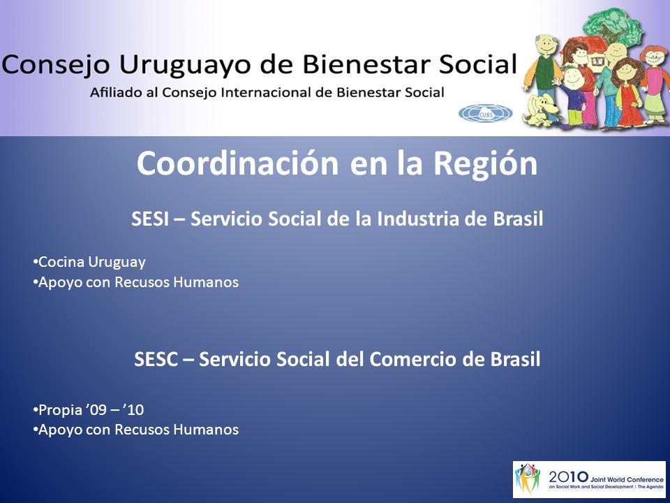Coordinación en la Región SESI – Servicio Social de la Industria de Brasil Cocina Uruguay Apoyo con Recusos Humanos SESC – Servicio Social del Comercio de Brasil Propia 09 – 10 Apoyo con Recusos Humanos
