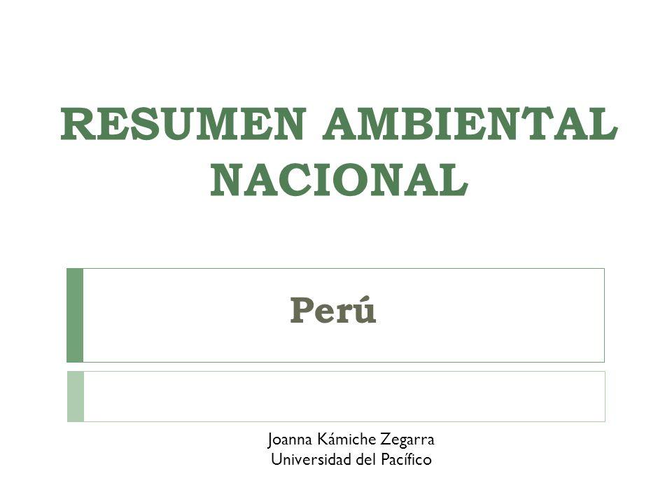 RESUMEN AMBIENTAL NACIONAL Perú Joanna Kámiche Zegarra Universidad del Pacífico