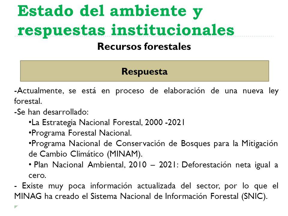 Recursos forestales Estado del ambiente y respuestas institucionales Respuesta -Actualmente, se está en proceso de elaboración de una nueva ley forest