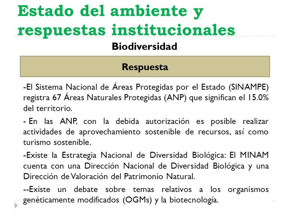Biodiversidad Estado del ambiente y respuestas institucionales Respuesta -El Sistema Nacional de Áreas Protegidas por el Estado (SINAMPE) registra 67