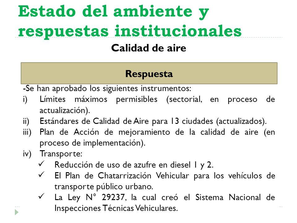 Calidad de aire Estado del ambiente y respuestas institucionales Respuesta -Se han aprobado los siguientes instrumentos: i)Límites máximos permisibles