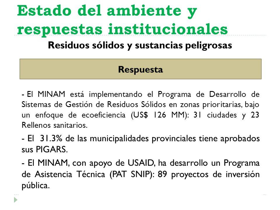 Residuos sólidos y sustancias peligrosas Estado del ambiente y respuestas institucionales Respuesta - El MINAM está implementando el Programa de Desar