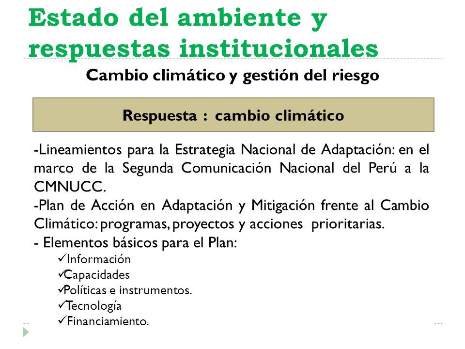 Cambio climático y gestión del riesgo Estado del ambiente y respuestas institucionales Respuesta : cambio climático -Lineamientos para la Estrategia N
