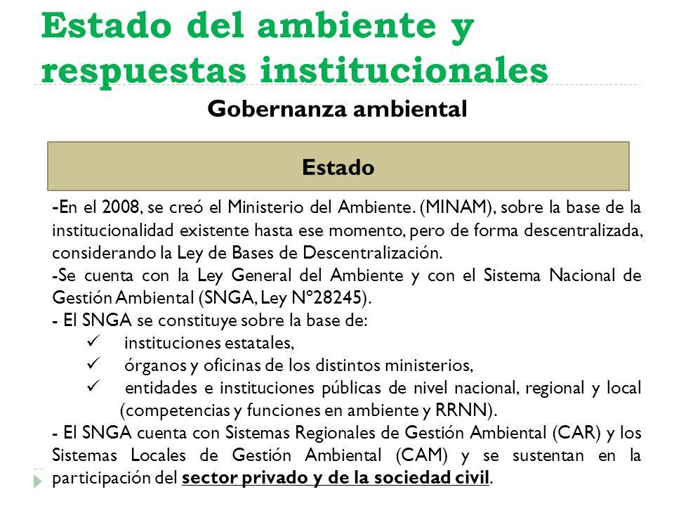 Gobernanza ambiental Estado del ambiente y respuestas institucionales Estado - En el 2008, se creó el Ministerio del Ambiente. (MINAM), sobre la base