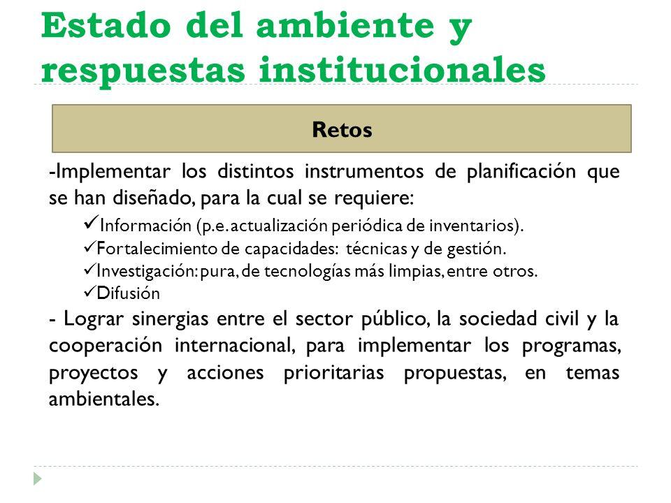 Estado del ambiente y respuestas institucionales Retos -Implementar los distintos instrumentos de planificación que se han diseñado, para la cual se r