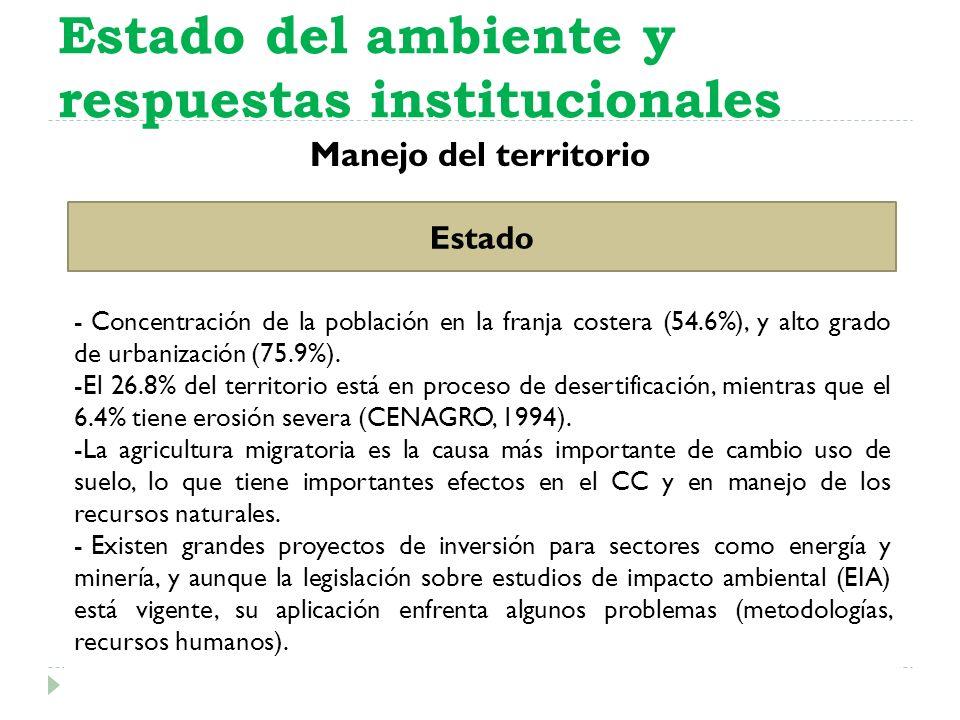 Manejo del territorio Estado del ambiente y respuestas institucionales Estado - Concentración de la población en la franja costera (54.6%), y alto gra