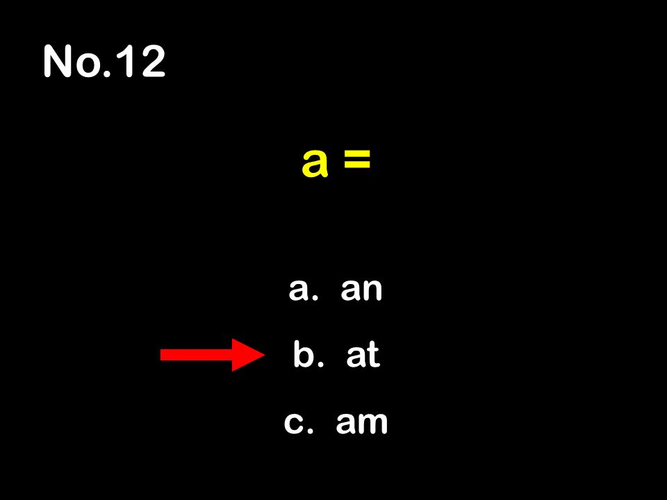 No.12 a. an b. at c. am a =