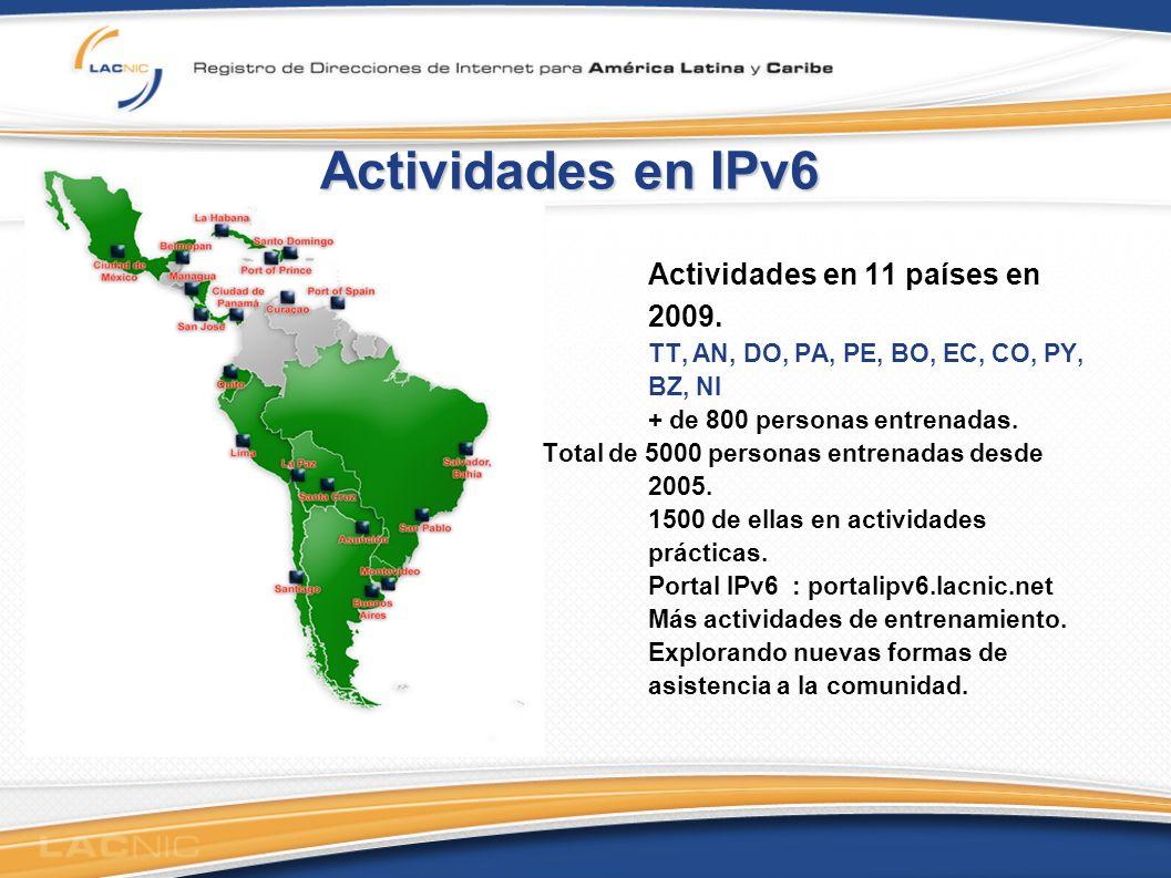 Actividades en IPv6 Actividades en 11 países en 2009.