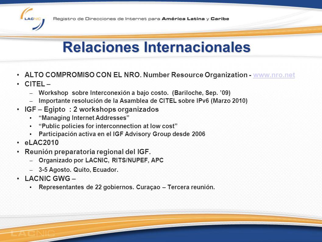 Relaciones Internacionales ALTO COMPROMISO CON EL NRO.