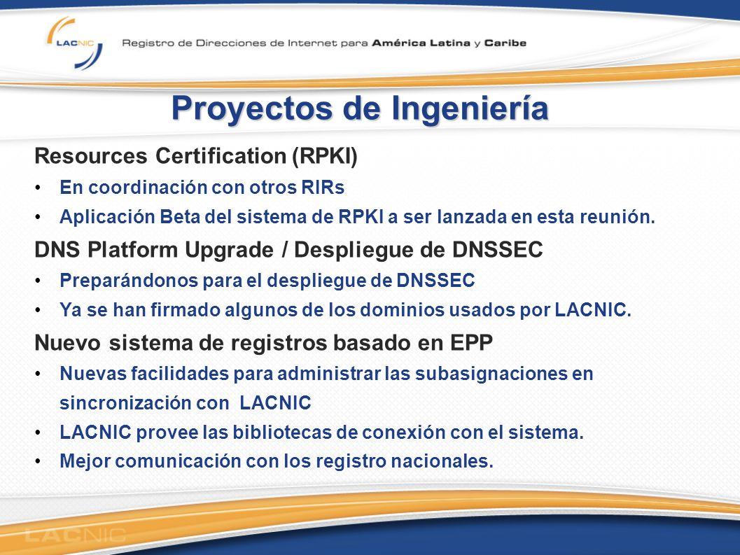 Proyectos de Ingeniería Resources Certification (RPKI) En coordinación con otros RIRs Aplicación Beta del sistema de RPKI a ser lanzada en esta reunión.