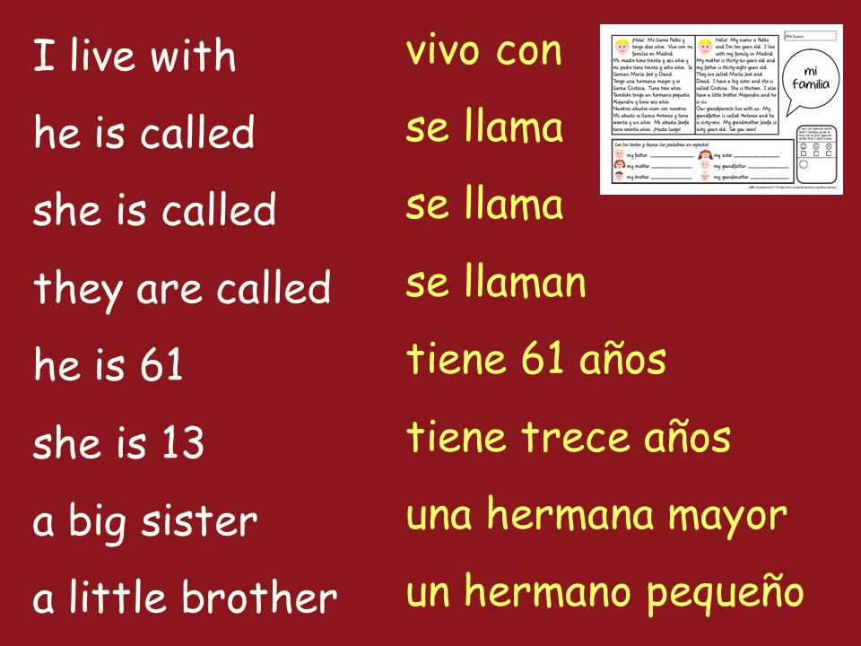 I live with he is called she is called they are called he is 61 she is 13 a big sister a little brother vivo con se llama se llaman tiene 61 años tiene trece años una hermana mayor un hermano pequeño