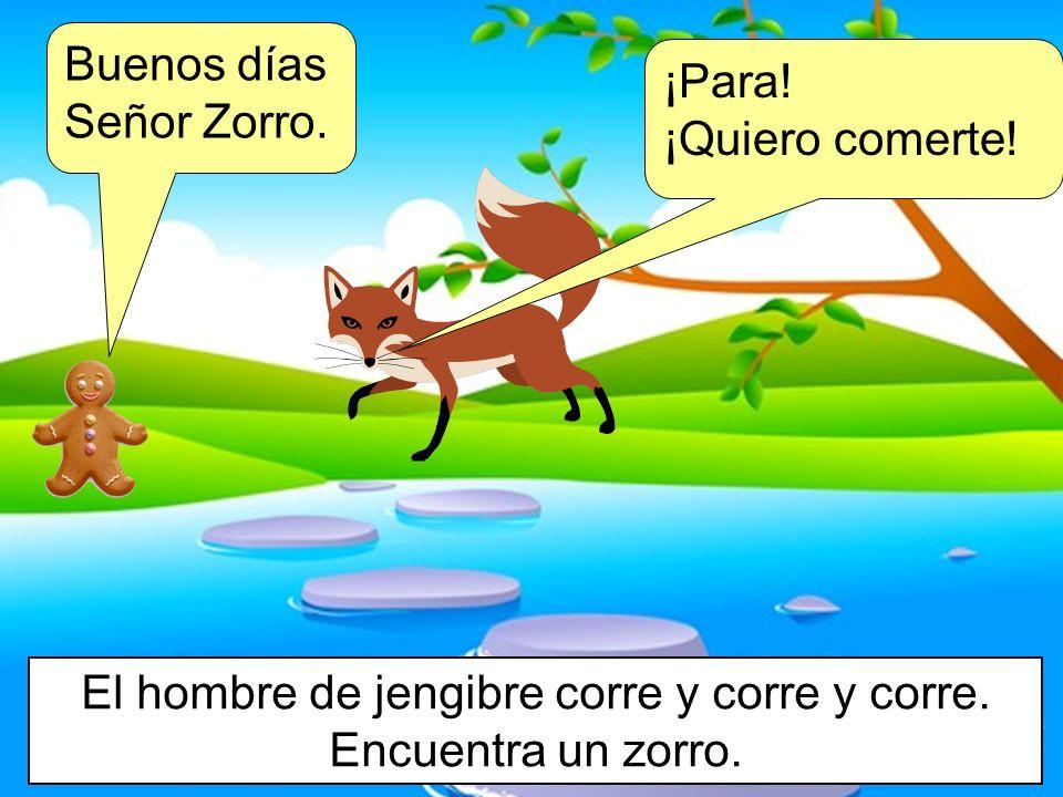 Buenos días Señor Zorro. El hombre de jengibre corre y corre y corre. Encuentra un zorro. ¡Para! ¡Quiero comerte!