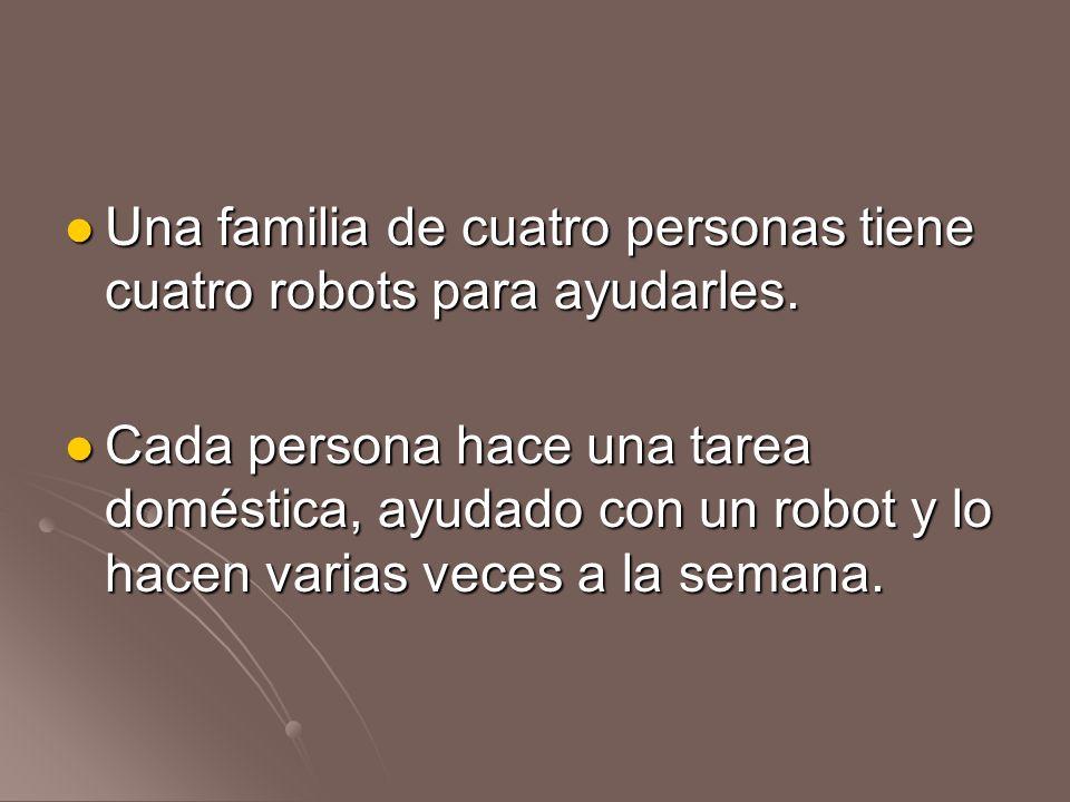 Una familia de cuatro personas tiene cuatro robots para ayudarles.