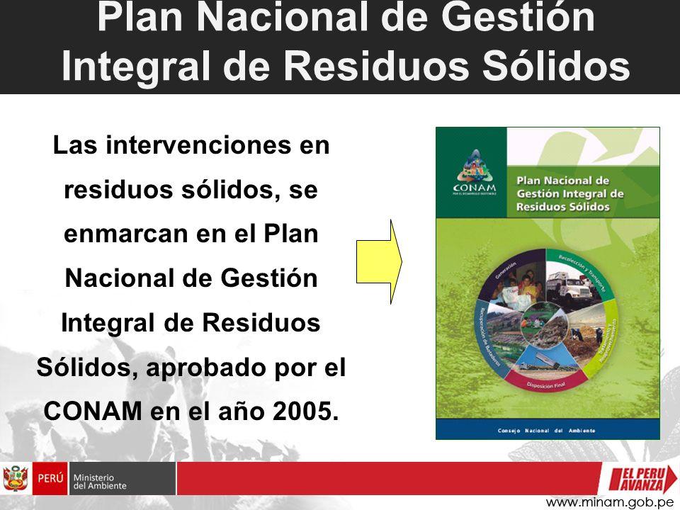 Plan Nacional de Gestión Integral de Residuos Sólidos Las intervenciones en residuos sólidos, se enmarcan en el Plan Nacional de Gestión Integral de R