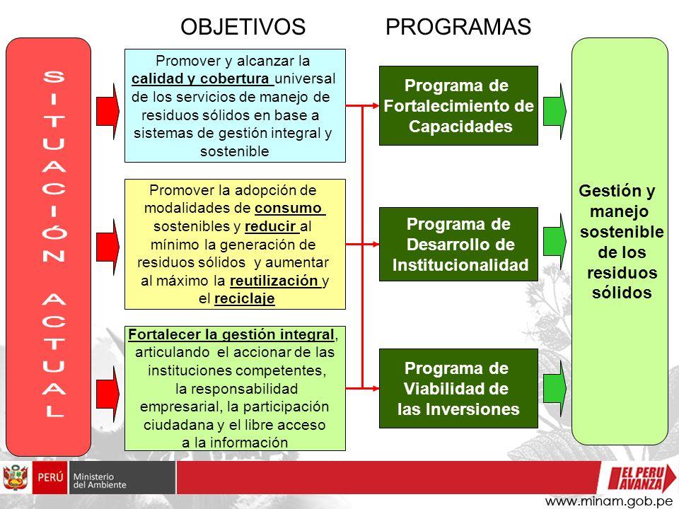 Promover y alcanzar la calidad y cobertura universal de los servicios de manejo de residuos sólidos en base a sistemas de gestión integral y sostenibl