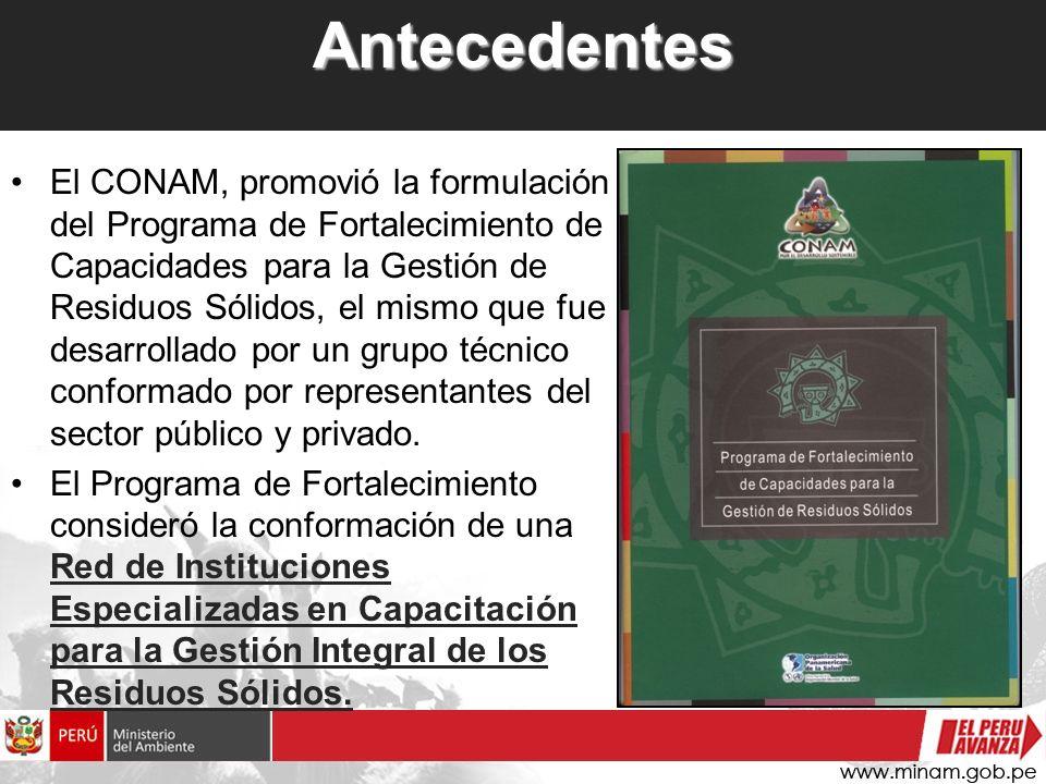 Antecedentes El CONAM, promovió la formulación del Programa de Fortalecimiento de Capacidades para la Gestión de Residuos Sólidos, el mismo que fue de