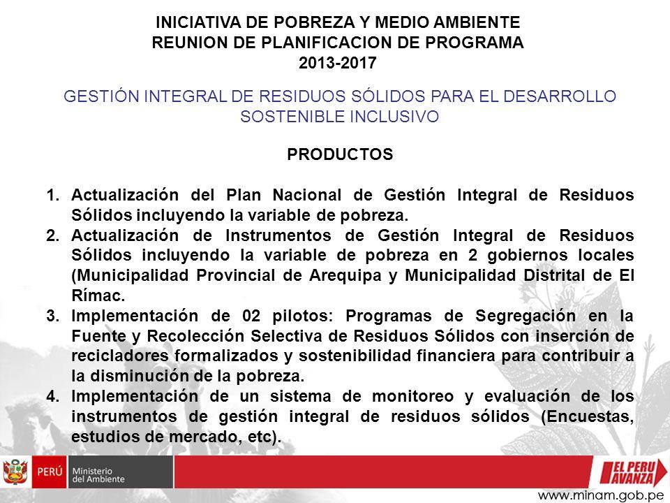 INICIATIVA DE POBREZA Y MEDIO AMBIENTE REUNION DE PLANIFICACION DE PROGRAMA 2013-2017 PRODUCTOS 1.Actualización del Plan Nacional de Gestión Integral