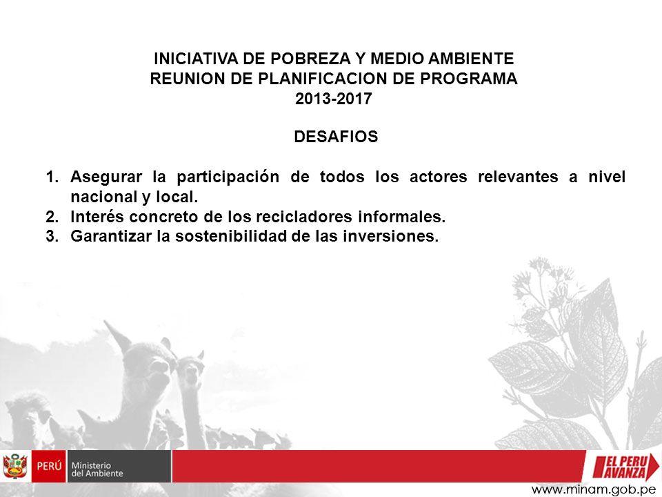 INICIATIVA DE POBREZA Y MEDIO AMBIENTE REUNION DE PLANIFICACION DE PROGRAMA 2013-2017 DESAFIOS 1.Asegurar la participación de todos los actores releva