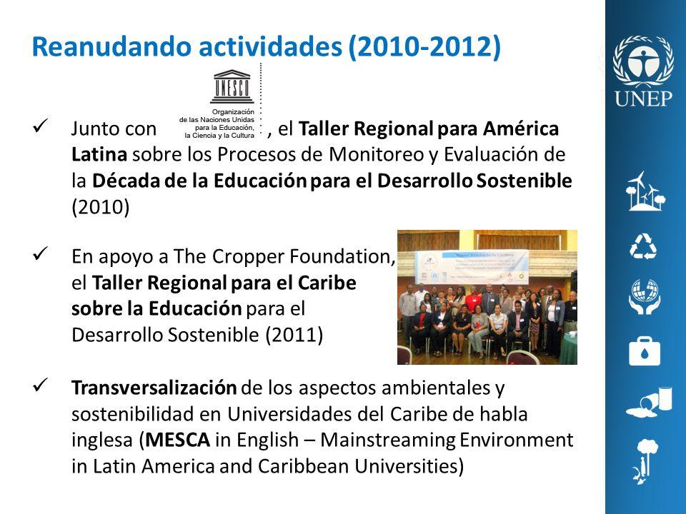 Reanudando actividades (2010-2012) Junto con, el Taller Regional para América Latina sobre los Procesos de Monitoreo y Evaluación de la Década de la E