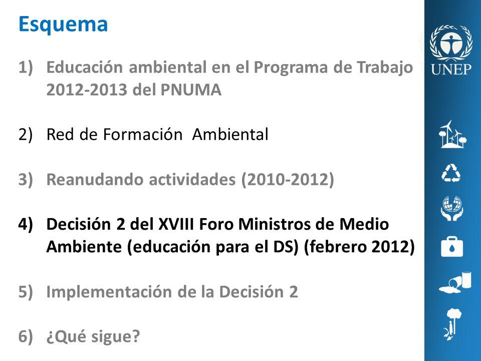 Esquema 1)Educación ambiental en el Programa de Trabajo 2012-2013 del PNUMA 2)Red de Formación Ambiental 3)Reanudando actividades (2010-2012) 4)Decisi