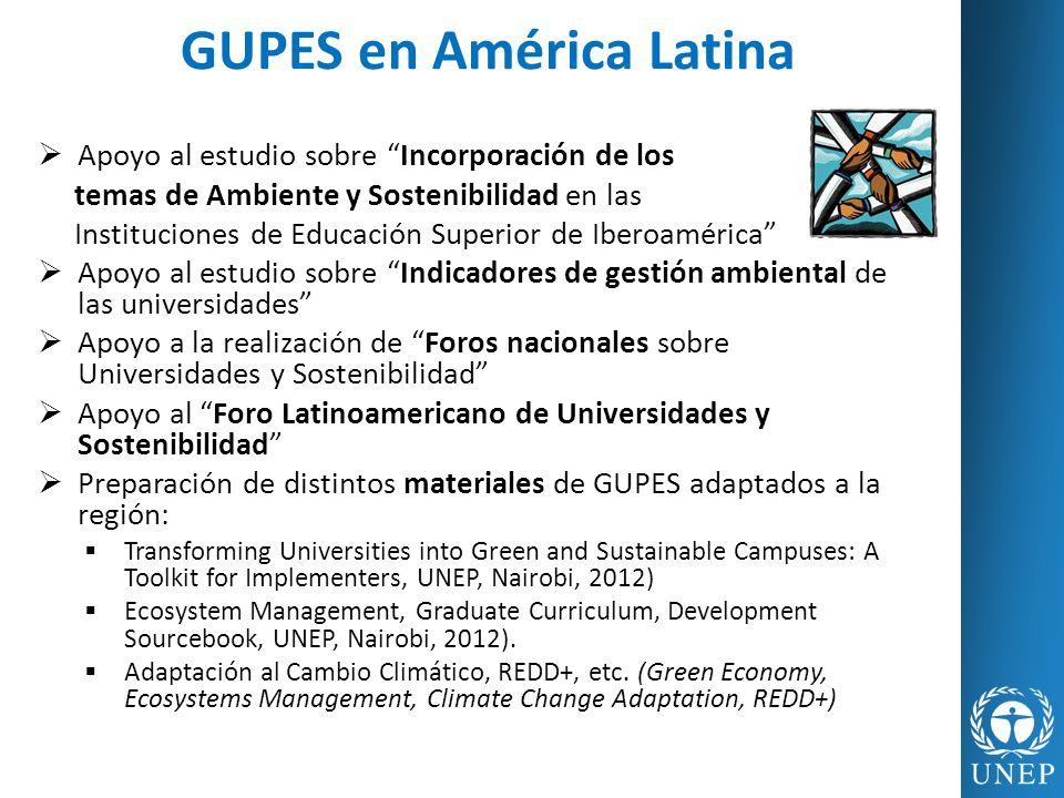 Apoyo al estudio sobre Incorporación de los temas de Ambiente y Sostenibilidad en las Instituciones de Educación Superior de Iberoamérica Apoyo al est
