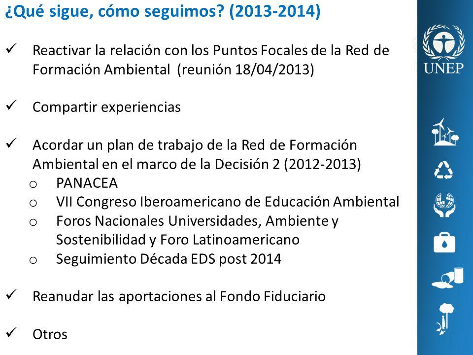 ¿Qué sigue, cómo seguimos? (2013-2014) Reactivar la relación con los Puntos Focales de la Red de Formación Ambiental (reunión 18/04/2013) Compartir ex