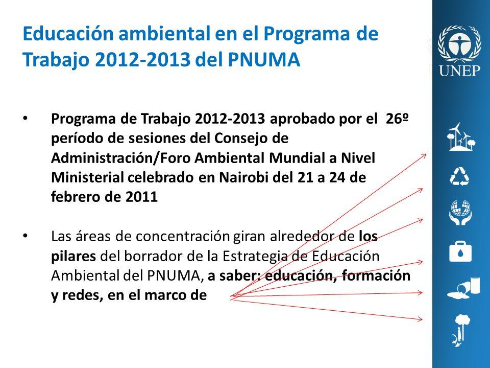 Educación ambiental en el Programa de Trabajo 2012-2013 del PNUMA Programa de Trabajo 2012-2013 aprobado por el 26º período de sesiones del Consejo de