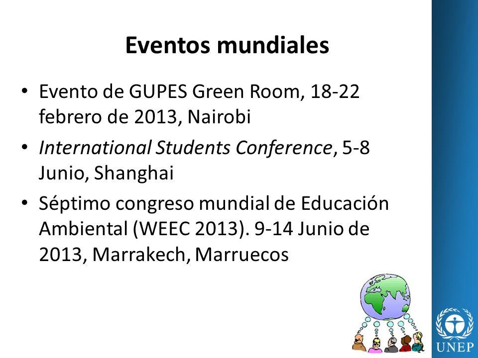 Eventos mundiales Evento de GUPES Green Room, 18-22 febrero de 2013, Nairobi International Students Conference, 5-8 Junio, Shanghai Séptimo congreso m